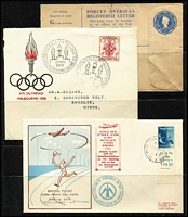 Lot 110 [1 of 3]:World Covers incl Australia (2), France 1950s Stamp Day cards (4), strength in GB FDCs (many from Medical firms 1970s-80s with single values), Israel few 1950s-60s FDCs some with tabs, etc. Several commem pmks throughout. Generally fine. (120+)