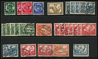 Lot 394 [3 of 5]:1870s-1945 Collection on 65+ Hagners incl good range of earlies with 1875-79 50pf grey-black, grey-green, 1875-79 2m (3) range of 'REICHPOST' issues, Germanias shaded & unshaded, various perfs & wmks, 1924 Buildings (2 sets), 1933 Reichstag (3), Wagner P14 20pf, 1934 Airs (4 sets plus additional 2m (7) & 3m (5)), Hindenburg Memorial (4 sets), 1935 Railways (4 sets), 1936 & 1938 Winter Relief Fund, 1938, 1939 & 1940 Brown Ribbons, also few Officials, etc. Slight duplication throughout. Some postmark interest. Generally very fine. (2.7kg). (100s)