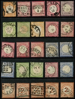 Lot 394 [1 of 5]:1870s-1945 Collection on 65+ Hagners incl good range of earlies with 1875-79 50pf grey-black, grey-green, 1875-79 2m (3) range of 'REICHPOST' issues, Germanias shaded & unshaded, various perfs & wmks, 1924 Buildings (2 sets), 1933 Reichstag (3), Wagner P14 20pf, 1934 Airs (4 sets plus additional 2m (7) & 3m (5)), Hindenburg Memorial (4 sets), 1935 Railways (4 sets), 1936 & 1938 Winter Relief Fund, 1938, 1939 & 1940 Brown Ribbons, also few Officials, etc. Slight duplication throughout. Some postmark interest. Generally very fine. (2.7kg). (100s)