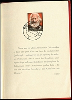 Lot 1551 [2 of 2]:1953 Karl Marx Booklet with red embossed cover & 10 impressions on pages, all cancelled with 'KARL-MARX-STADT 33/18.12.53-15/b' cds. Stamps as Mi #344-53. Scarce.