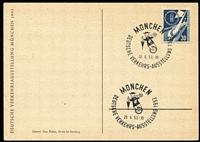 Lot 1552 [1 of 8]:1953 Transport Exhibition, Munich set tied to individual Exhibition postcards by special Exhibition cancels (3 are FDCs), all unaddressed. (4)