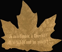 Lot 1263:1943 Propaganda Leaflet in the shape of a maple leaf dopped over France & Belgium with French inscription (on both sides) reading 'Je suis tombée, ô Churchill!, Où es-tu? Où sont tes soldats?' ('I fell out of tree, Oh Churchill! where are your soldiers?'). A rare survivor.