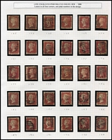 Lot 434 [1 of 2]:1864-79 1d Reds neatly arranged selection from Pl 71 to Pl 222. (ex Pl 77 !!!, and several other plates). Generally fine. (136)