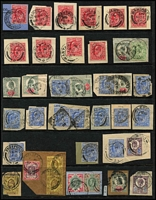 Lot 435 [2 of 6]:1902-10 Large Accumulation on 37 Hagners with numerous squared circles, hooded circles, Late Fee or cds cancels, some on piece, many printings identified incl De La Rues 5d (45), 10d (16), 1/- Chalky & ordinary (60+), 2/6d (3), 5/- (16), Harrison P14 incl 2½d (5), 3d, 4d (6), P15x14 2½ (46), 3d (19), 4d (29), Somerset House 2d (17), 5d (32), 6d (85), 7d (2), 9d (8), 10d (7), 1/- (160+), 2/6d (5), 5/-, few low value Army, Admiralty & I.R. Officials, some multiples throughout. Very high catalogue value. Ideal lot for researcher. (100s)