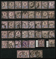 Lot 435 [1 of 6]:1902-10 Large Accumulation on 37 Hagners with numerous squared circles, hooded circles, Late Fee or cds cancels, some on piece, many printings identified incl De La Rues 5d (45), 10d (16), 1/- Chalky & ordinary (60+), 2/6d (3), 5/- (16), Harrison P14 incl 2½d (5), 3d, 4d (6), P15x14 2½ (46), 3d (19), 4d (29), Somerset House 2d (17), 5d (32), 6d (85), 7d (2), 9d (8), 10d (7), 1/- (160+), 2/6d (5), 5/-, few low value Army, Admiralty & I.R. Officials, some multiples throughout. Very high catalogue value. Ideal lot for researcher. (100s)