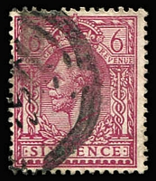 Lot 1394 [2 of 7]:1912-24 Wmk Royal Cypher 6d P14 Reddish-Purple four presentable examples. cat £440+.