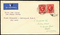 Lot 437 [2 of 5]:1934 Railway Air Service plain covers incl (20 Aug) Bristol-Newport, (24 Sep) Bristol-Plymouth, Bristol-Liverpool, (24 Sep) Plymouth-Liverpool, (1 Nov) Belfast-Liverpool with 'FIRST FLIGHT' handstamp, all bearing KGV Photogravure ½d or 1d with first day cancels. (5)