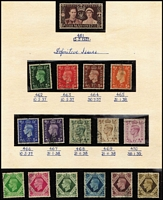 Lot 439 [3 of 3]:1935-80s Collection incl 1939-48 High Values (6), 1948 Wedding (2), 1951 Festival 10/- & £1, all used. Plus Machin collection (180+) mosty MUH with many 1 band, 2 band, centre band, etc. Similar type of coll'n for Regionals (170+) with many MUH. Condition of earlies a little mixed. (100s)