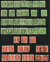 Lot 440 [2 of 5]:1936-52 Accumulation on 30+ Hagners with KEVIII wmk inverted ½d (13), 1d (14), 1½d (26), KGVI 1937-47 Defins (3 sets, plus numerous odd values), wmk s/ways incl 1d (2), 2½d, wmk inverted 2½d (13), 1939-48 High Values (6 sets, plus additional 2/6d brown (18), green (7), 5/- (17, incl few varieties incl SGQ31, 10/- dark blue [with retouched lip -SG Q32a]), 10/- light blue (5)), 1940 Stamp Centenary (5 sets), 1948 Wedding (2), 1951 Festival (9 sets, plus additional 5/- (7), 10/- (10) & £1 (8)) also small selection of Postage Dues plus Guernsey Wartime ½d green shades (28), 1d red shades (16). Some multiples throughout. Generally fine. Well worth the estimate. (100s)