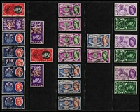Lot 442 [1 of 5]:1953-70 Accumulation incl many better early QE commmems, some phosphor issues included and many early Wilding defins, few wmk varieties, 1957-59 range of graphite or phos-graphite issues, Castles incl 1955-58 (6 sets and many odd values), later Castles incl many sets, few Regionals. (100s)