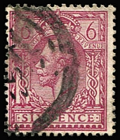 Lot 1394 [5 of 7]:1912-24 Wmk Royal Cypher 6d P14 Reddish-Purple four presentable examples. cat £440+.