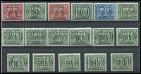 Lot 1581 [2 of 2]:1940 (Oct) Surcharges 2½ on 3c to 500 on 3c set. SG #522-39, Cat £225. (18)