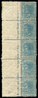 Lot 1061:1863-69 DLR Wmk Single Lined 2 Perf 13 2d pale blue SG #192 marginal strip of 5 (4 units MUH), value imprint in margin, Cat £300+.