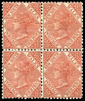 Lot 1062:1867-93 4d Pale Red-Brown SG #204 block of 4, Cat £520.