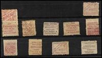 Lot 452 [2 of 2]:1882-1900 'Ads on Back' selection incl 1d (9, incl a pair & a strip of 4), 2d (5) and 8d. Generally fine. (15)