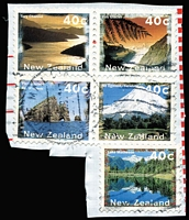 Lot 430 [2 of 5]:1996 Scenery 40c with Marlborough Sounds omitted (5, incl one on part booklet pane MUH, 4 on pieces), SG #1986ba, Cat £200. (5 items)