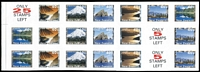 Lot 1593:1996 40c Scenic Views block of 18 variety Imperforate with 'ONLY/5/STAMPS/LEFT' (2 labels, at right) & 'ONLY/25/STAMPS/LEFT' (at upper left) labels, 'Sprintpak-SNP' inscribed on reverse of each unit. Rare & unlisted.