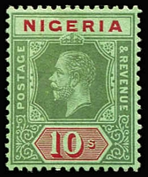 "Lot 1608:1914-29 Wmk Mult Crown CA 10/- green & red/on emerald with 1966 BPA (London) Cert stating '""....SG #13c [now #11c] unused with original gum is genuine."" SG #11c, Cat £160."