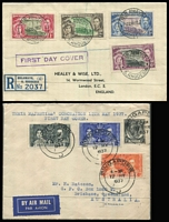 Lot 127 [2 of 6]:Omnibus Issue: on covers (some FDCs, some registered) incl 1937 Coronation from Aden (2, plus Jul 1937 cover with Port Tafiq 'PAQUEBOT' cancel), Cyprus, Hong Kong, St. Helena, Sthn Rhodesia, Straits Settlements (2), Seychelles (3), etc, 1946-47 Victory from Ceylon, Gilberts, Mauritius, 1949 UPU Gilbert & Ellice Islands (3 covers), KUT, Mauritius, Tonga, also Canada 1928 1st Flight Montreal to Albany (USA) with cachet, several 1950s-60s 1st Flight covers. Generally fine. (81)