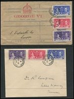 Lot 127 [3 of 6]:Omnibus Issue: on covers (some FDCs, some registered) incl 1937 Coronation from Aden (2, plus Jul 1937 cover with Port Tafiq 'PAQUEBOT' cancel), Cyprus, Hong Kong, St. Helena, Sthn Rhodesia, Straits Settlements (2), Seychelles (3), etc, 1946-47 Victory from Ceylon, Gilberts, Mauritius, 1949 UPU Gilbert & Ellice Islands (3 covers), KUT, Mauritius, Tonga, also Canada 1928 1st Flight Montreal to Albany (USA) with cachet, several 1950s-60s 1st Flight covers. Generally fine. (81)