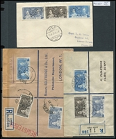 Lot 127 [1 of 6]:Omnibus Issue: on covers (some FDCs, some registered) incl 1937 Coronation from Aden (2, plus Jul 1937 cover with Port Tafiq 'PAQUEBOT' cancel), Cyprus, Hong Kong, St. Helena, Sthn Rhodesia, Straits Settlements (2), Seychelles (3), etc, 1946-47 Victory from Ceylon, Gilberts, Mauritius, 1949 UPU Gilbert & Ellice Islands (3 covers), KUT, Mauritius, Tonga, also Canada 1928 1st Flight Montreal to Albany (USA) with cachet, several 1950s-60s 1st Flight covers. Generally fine. (81)
