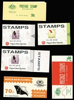 Lot 504 [2 of 2]:1970-94 Booklets Selection incl 1970 (May) 50c with imprint 'G.P.-P&NG/B1112' on reverse (9), 1971 70c (7c Shell) Red & Green cover SG #B3 (30), 1972 70c (Constitution) SG #B4 (12), 1973 70c (Telecommunications) SG B#5 (20, various adverts), 1993 (April) 2k.10 Bird (15, no imprint), also with additional slotted tab at right SG #B6a (15, incl 14 with imprint), 4k.50 Bird SG #B7 (11 with imprint), also with slotted tab at right SG #B7a (21, incl 10 with imprint,11 without), 1994 2k.10 SG B#10 (2), 4k.50 SG #B11 (2). Retail in excess of $2,000. (134)