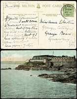 Lot 211 [1 of 2]:Great Britain 1903-10: Selection in Lighthouse 4 ring album from Guernsey (5) Isle on Man (3), Jersey (3), Ireland (9), Scotland (41), many coastal scenes, lakes, etc. Most cards have KEVII ½d stamps. Generally fine. (61)