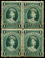 Lot 368:1882-95 P12 £1 Green block of 4 with original gum, some toning, SG #156, Cat £2,200.