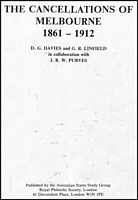 Lot 39:Australian Colonies: Victoria : The Cancellations of Melbourne 1861-1912 by DG Davies & GR Linfield in collaboration with JRW Purves. Published by RPSL, 1980, 63pp incl many diagrams. Photocopied in binder.