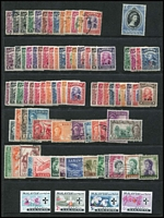 Lot 457 [2 of 2]:1871-1965 Collection incl 1875 2c, few earlies, KGVI issues with BMA Opts various to $1 (2), plus $2, later KGVI & QEII issues, many loose in envelope. Japanese Occupation Revenues optd with Japanese characters & vertical lines 1943 4c, 5c, 6c, 15c (both), 20c (5, incl a block of 4), 1943 Oval Frame 5c, 6c, 10c & $2. STC £250+ not incl Revenue issues. Generally very fine.