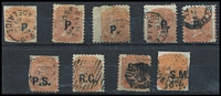 Lot 351:Departmentals Collection comprising 'P.' (Police, 5 incl one with blue opt), 'P.S.' (Private Secretary), 'R.G.' (Registrar-General), 'S.M.' (Stipendiary Magistrate, 2). Generally fine. (9)