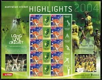 Lot 141 [3 of 5]:Cricket : Australia: 1990s-2007 range of personalised $4.50 or $5 sheets with Shane Warne (2), Allan Border ING sheets (3), 2004 Celebrating Australian Cricket, Australian Cricket Hghlights (5), 2006 A Century of Tests at the MCG, 2007 ICC Cricket World Cup, 2006-07 The 3 Mobile Ashes Series, several packs, maxi cards & adhesives, also 2 Prestige 'Celebration' booklets optd with 'Congratulations/Australian Cricket Team/WINNERS/World Cup 2003/And Back to Back Winners! No.115 (& 117) in silver. Also Nepal 2009 Everest Test FDC with special cachet and numbered '206/30'. Face value of postage is $110+. (35+ Items)