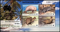 Lot 148 [3 of 5]:Stamp Exhibitions 2013: Worldwide Fund for Nature set of 4M/Ss (MUH) each optd 'SUPPORTERS CLUB/Australia/2013/Centenary of/Kangaroo Stamps/10-15 MAY 2013 194/750' plus Award plaque for 1981 Design-a-Stamp competition National Stamp week. (5 Items)
