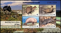 Lot 148 [1 of 5]:Stamp Exhibitions 2013: Worldwide Fund for Nature set of 4M/Ss (MUH) each optd 'SUPPORTERS CLUB/Australia/2013/Centenary of/Kangaroo Stamps/10-15 MAY 2013 194/750' plus Award plaque for 1981 Design-a-Stamp competition National Stamp week. (5 Items)