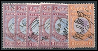 Lot 360 [2 of 2]:1886-96 New Stamp Duty Designs 2nd V/Crown: £5 (5), £8 & £9 (pair). All fiscally used. (8)