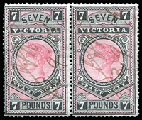 Lot 362 [1 of 2]:1886-96 New Stamp Duty Designs 2nd V/Crown: £5 (5), £7 (pair), £9 (2). All fiscally used. (9)