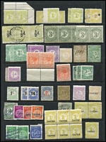 Lot 357 [1 of 2]:Stamp Duty: selection incl QV 2/6d (3, MUH incl marginal pair), few perforated or rouletted issues incl 'RELIEF', 'CATTLE' or 'SWINE' opts, also several pre-decimal 'TAX INSTALMENT' stamps incl 1/4d (2), 2/8d, 3/-. Generally fine. ( Approx 80)