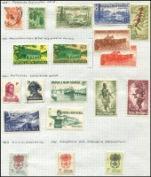 Lot 357 [3 of 5]:Norfolk Island 1947-80s Collection on leaves incl 1947 Ball Bay (12), New Colours (2), 1953 Picts (6), 1960 Picts (13), Local Gov't 2/8d, and most issues to 1982, Papua New Guinea on leaves incl 1952 Map 10/-, 1958-60 1/7d Cattle, 1964-65 Birds, many later commems & defins, 1960 (June) Postage Dues (8). Generally fine. (Approx 300)
