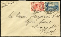 "Lot 298 [2 of 3]:1927-60 Cover accumulation incl 1931 1st Official Australia-England Flight with Kingsford Smith set plus 2 additional 6d, 1935 mss ""per/Aerial Mail"" Carnarvon to Perth, several covers to or from stamp dealers incl Haslem, G Laker, Wm Mayo, J Vinton Smith, c1951 front from Lae (PNG) to NSW. Mixed condition. (Approx 60)"