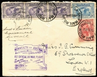 "Lot 298 [1 of 3]:1927-60 Cover accumulation incl 1931 1st Official Australia-England Flight with Kingsford Smith set plus 2 additional 6d, 1935 mss ""per/Aerial Mail"" Carnarvon to Perth, several covers to or from stamp dealers incl Haslem, G Laker, Wm Mayo, J Vinton Smith, c1951 front from Lae (PNG) to NSW. Mixed condition. (Approx 60)"