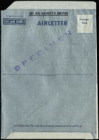 Lot 759 [1 of 3]:Specimens 1952 Official Aerogramme, no denomination, diagonally handstamped 'SPECIMEN' in violet and additionally showing White flaw between 'A' and 'I' of 'MAIL'. BW #AO1d/w. Cat $200. Also 1959 OHMS Jet design diagonally handstamped 'SPECIMEN' in violet. BW #AO3wa (2)