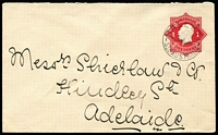 Lot 279 [2 of 5]:1916-18 1d Red Envelope selection with different Dies, papers, etc, also incl Die crack over 'E' of 'PENNY', plus 3 covers with Left point of Star broken, several covers uprated (with stamps) to 1½d (5), 2d or 2½d, 1919-20 1½d brown (unused), 1920-21 2d orange KGV Star 'no POSTAGE' (2, unused), 1923-39 'THREE/HALFPENCE' on 2d red (2, unused), 1923-24 1½d green KGV Star (unused), 1930 'TWO/PENCE on 1½d oval (2, unused). Very mixed condition. (Approx 60)