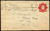 Lot 279 [1 of 5]:1916-18 1d Red Envelope selection with different Dies, papers, etc, also incl Die crack over 'E' of 'PENNY', plus 3 covers with Left point of Star broken, several covers uprated (with stamps) to 1½d (5), 2d or 2½d, 1919-20 1½d brown (unused), 1920-21 2d orange KGV Star 'no POSTAGE' (2, unused), 1923-39 'THREE/HALFPENCE' on 2d red (2, unused), 1923-24 1½d green KGV Star (unused), 1930 'TWO/PENCE on 1½d oval (2, unused). Very mixed condition. (Approx 60)