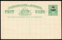 Lot 803:1923 'ONE/PENNY' on 1½d Emerald-Green unused. BW #P59. Cat $500.