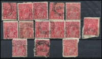 Lot 338 [2 of 4]:1913-47 Accumulation: incl range of cds types mostly on KGV 1d reds (24), incl Military Camp pmks (14), TPOs (8), plus 1947 Newcastle 5½d (150+). Mixed condition. (220+)