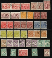 Lot 19 [3 of 3]:1915-39 CTO Accumulation with mixed Wmks & shades incl Roos 6d Chestnut (6, one perf 'OS'), 9d violet (7), perf 'OS' (5), 1/- blue-green (7), perf 'OS' (5), KGV Heads ½d orange (5, 3 perf 'OS'), 1d green perf 'OS', 1½d brown (6, 4 perf 'OS'), 2d brown (3), 3d blue (7, 5 perf 'OS'), 4d olive (5, 1 perf 'OS'), 5d chestnut (6, 3 perf OS'), 1/4d (4 perf 'OS) also several commems incl 1927 Canberra (3), 1929 Swan (2), 1932 Bridge 2d (2 Engraved & Typo), 5/- Robes, etc. Most have gum & several have hinge remains. Very fresh. (90)
