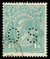 Lot 19 [1 of 3]:1915-39 CTO Accumulation with mixed Wmks & shades incl Roos 6d Chestnut (6, one perf 'OS'), 9d violet (7), perf 'OS' (5), 1/- blue-green (7), perf 'OS' (5), KGV Heads ½d orange (5, 3 perf 'OS'), 1d green perf 'OS', 1½d brown (6, 4 perf 'OS'), 2d brown (3), 3d blue (7, 5 perf 'OS'), 4d olive (5, 1 perf 'OS'), 5d chestnut (6, 3 perf OS'), 1/4d (4 perf 'OS) also several commems incl 1927 Canberra (3), 1929 Swan (2), 1932 Bridge 2d (2 Engraved & Typo), 5/- Robes, etc. Most have gum & several have hinge remains. Very fresh. (90)