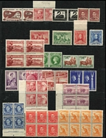 Lot 169 [2 of 3]:1927-65 Accumulation on 5 Hagners incl 1929 3d Airmail, 1936 SA Centenary 1/-, 1938-49 Robes 5/- (3, one tinted paper), 10/- thin paper, 1940 AIF (4), few 'Authority' imprint blocks, 1955 YMCA 3½d pair with slightly misplaced triangle (MUH), etc. Few MUH throughout. (250+)