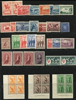 Lot 169 [1 of 3]:1927-65 Accumulation on 5 Hagners incl 1929 3d Airmail, 1936 SA Centenary 1/-, 1938-49 Robes 5/- (3, one tinted paper), 10/- thin paper, 1940 AIF (4), few 'Authority' imprint blocks, 1955 YMCA 3½d pair with slightly misplaced triangle (MUH), etc. Few MUH throughout. (250+)