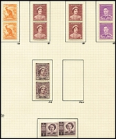 Lot 170 [1 of 3]:1937-78 Collection on leaves incl KGVI coil pairs, range of later issues incl 1965 5d green Queen block of 9 with 3 imperf between pairs & strip of 3 imperf at right, and block of 6 with 3 units imperf between, 1971 Christmas block of 25 (2 units MLH), etc. (350+)